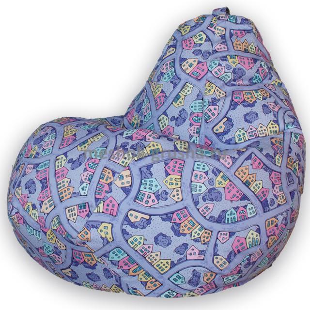 Кресло Мешок Груша Домики Фиолетовые (XL, Классический)